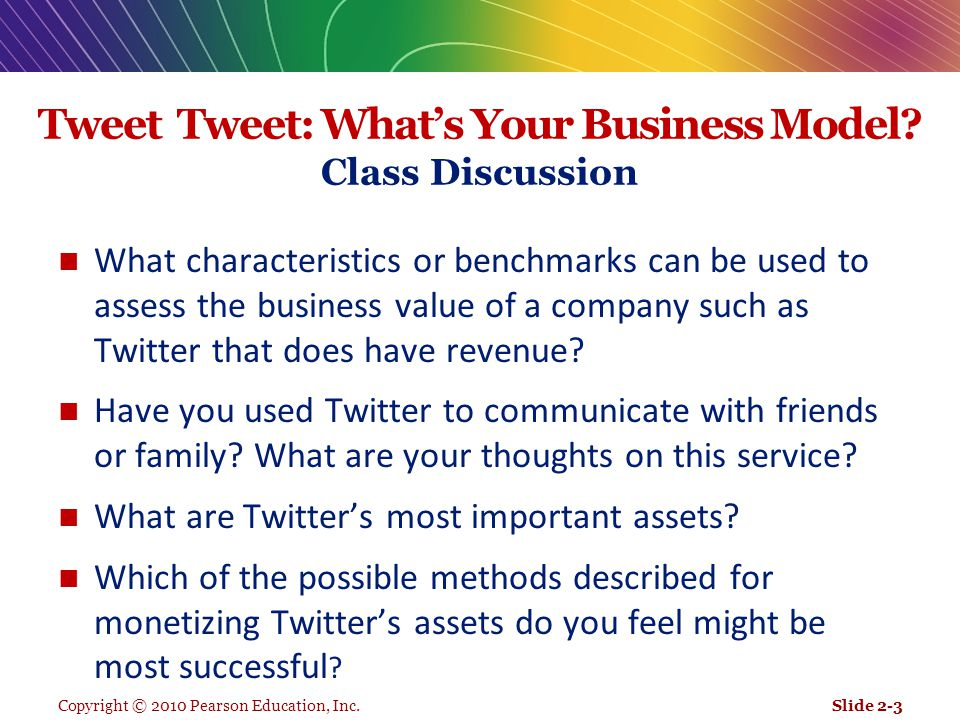 Tweet Tweet: What's Your Business Model Class Discussion