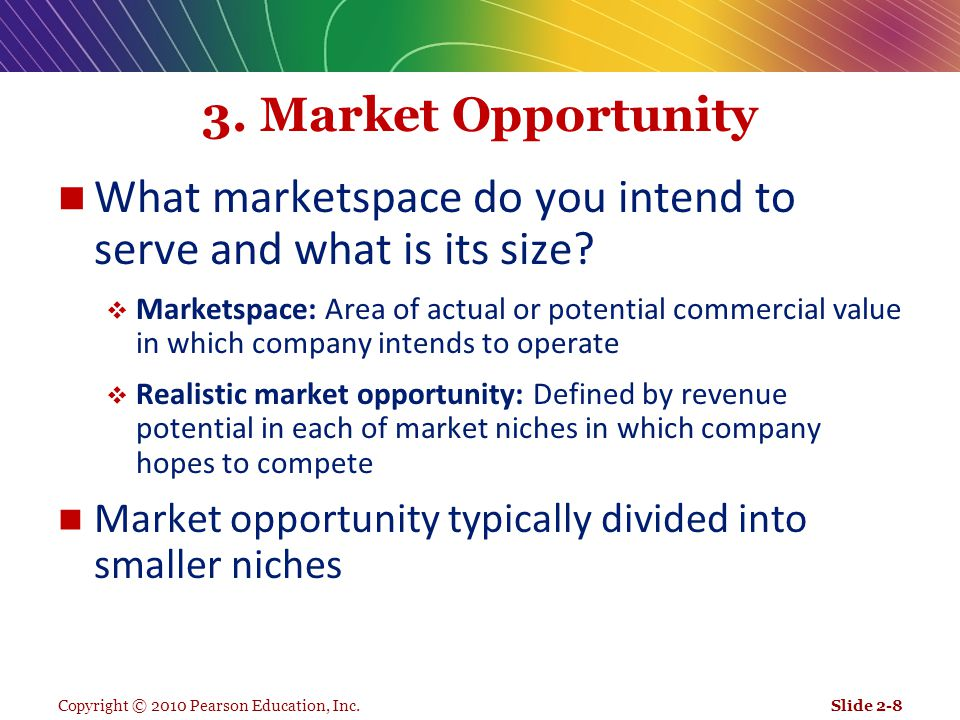What marketspace do you intend to serve and what is its size