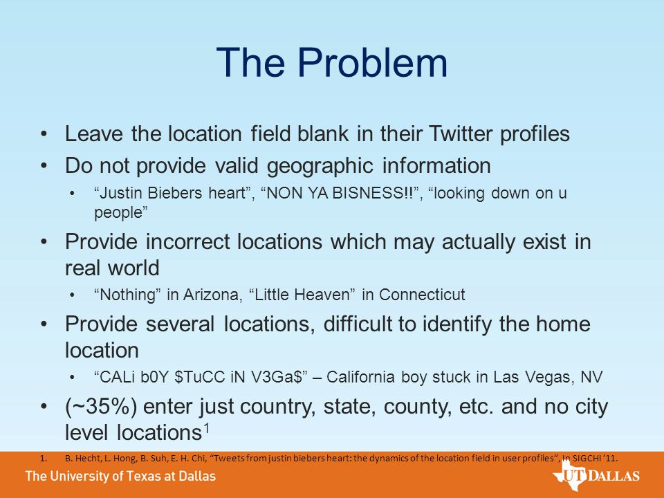 The Problem Leave the location field blank in their Twitter profiles