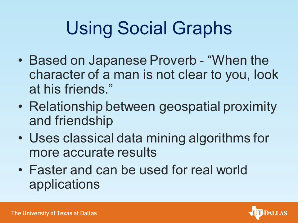 Using Social Graphs Based on Japanese Proverb - When the character of a man is not clear to you, look at his friends.