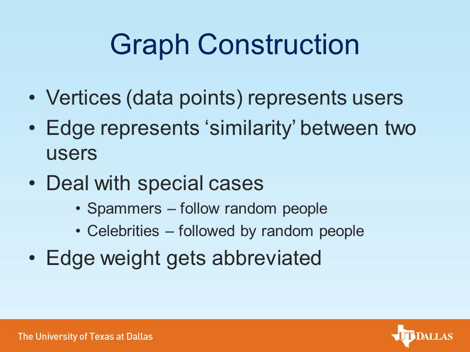Graph Construction Vertices (data points) represents users