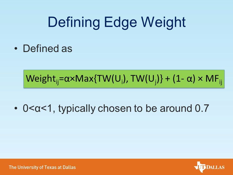 Defining Edge Weight Defined as