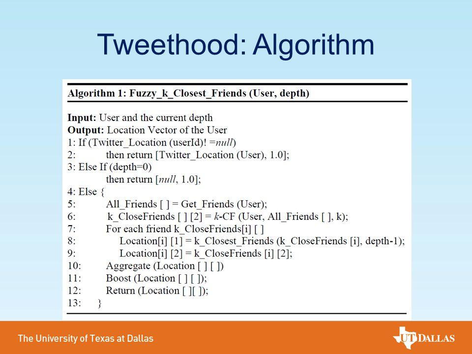 Tweethood: Algorithm