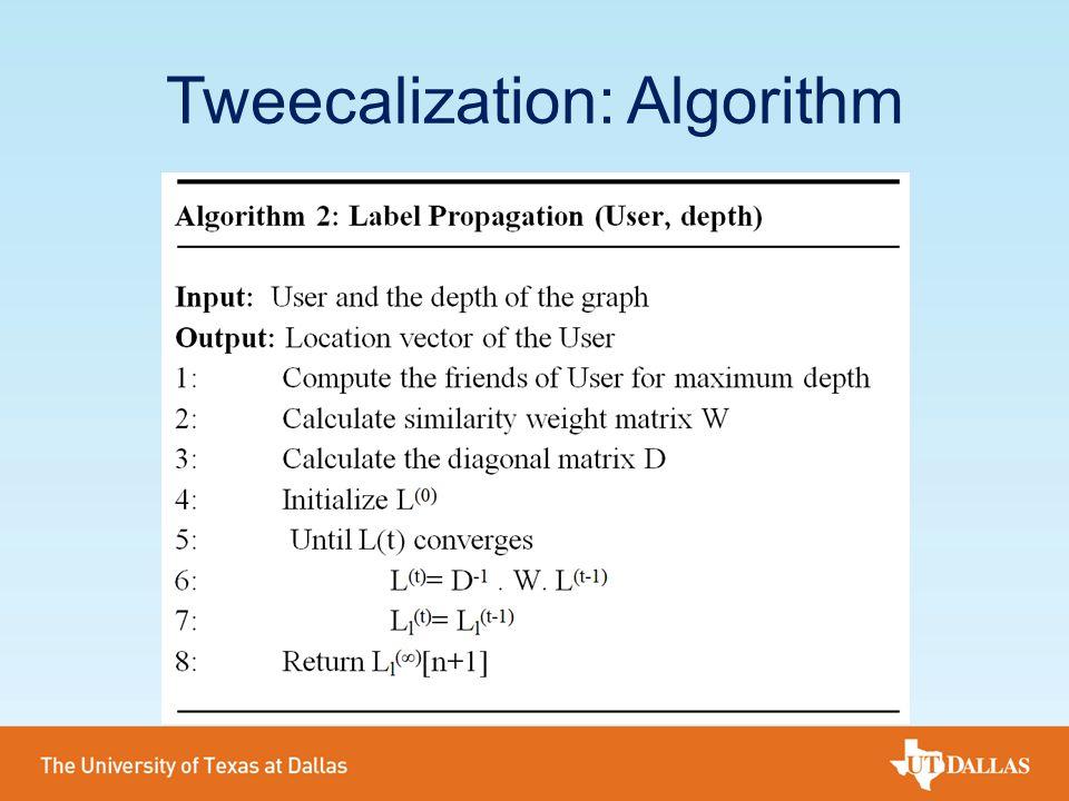 Tweecalization: Algorithm