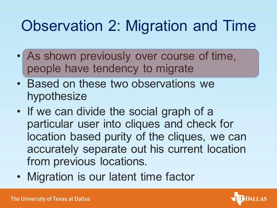 Observation 2: Migration and Time