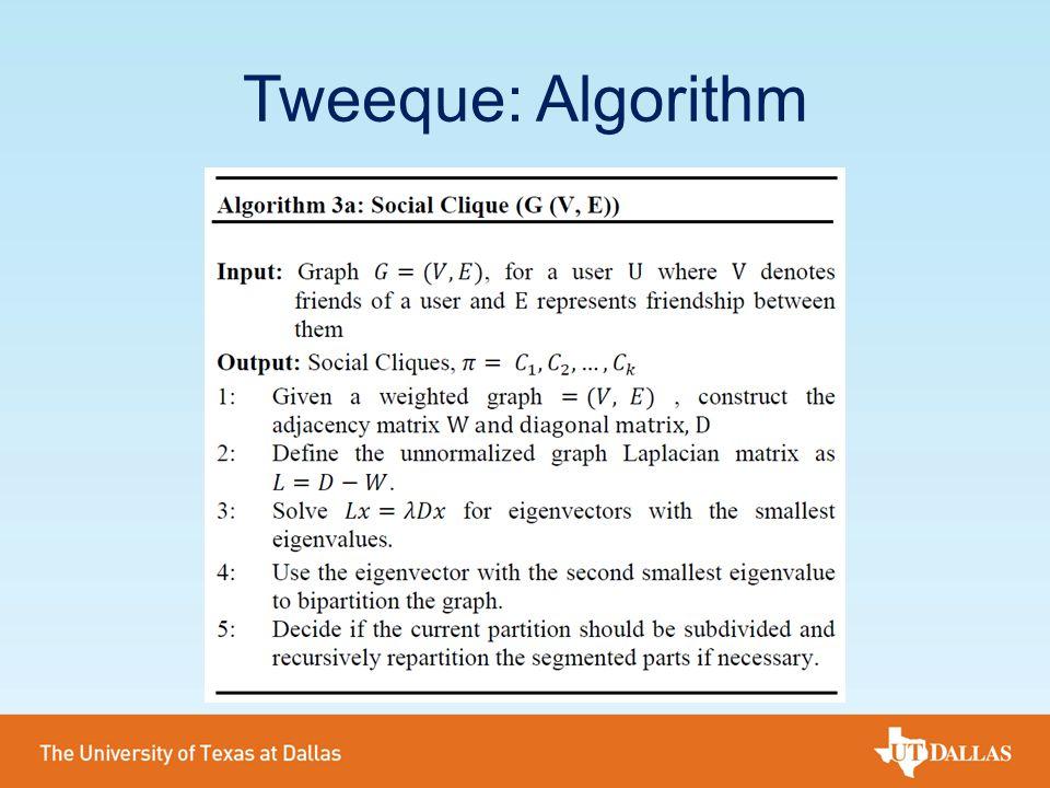 Tweeque: Algorithm