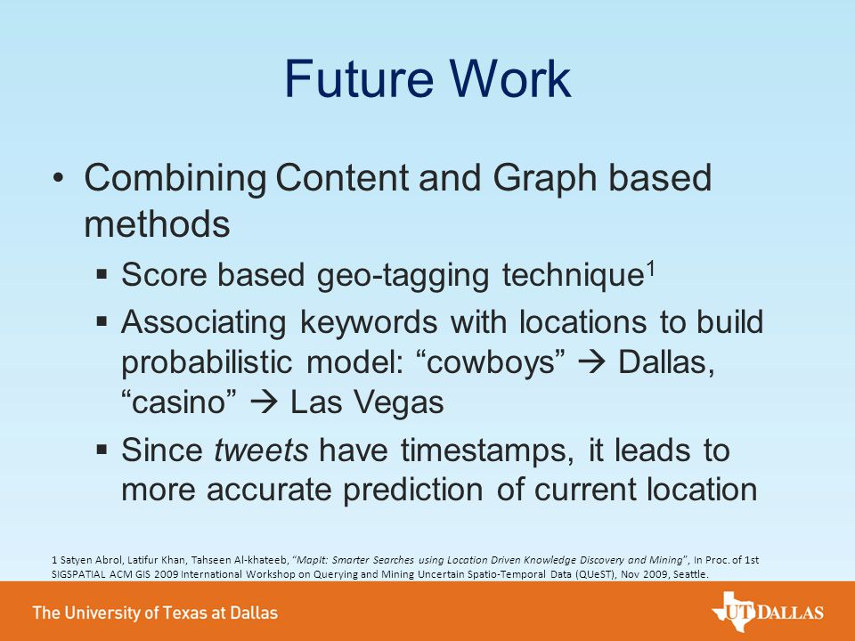 Future Work Combining Content and Graph based methods