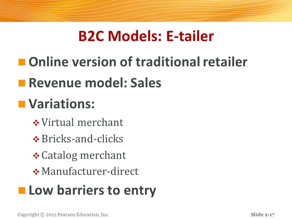 B2C Models: E-tailer Online version of traditional retailer