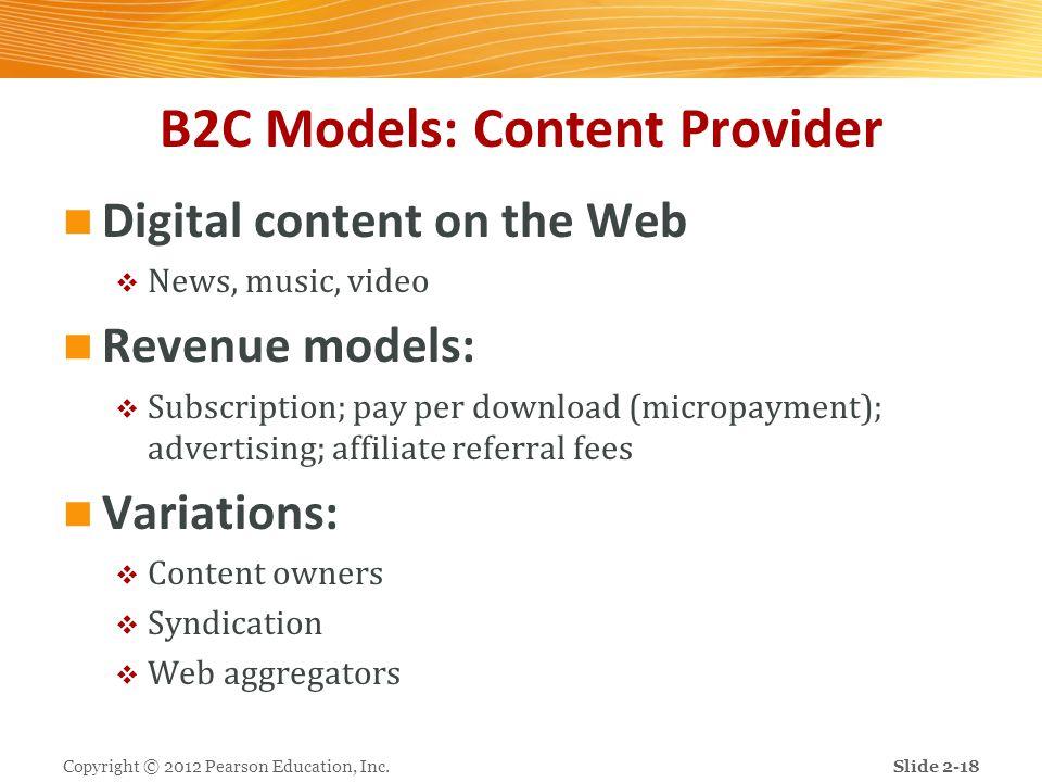 B2C Models: Content Provider