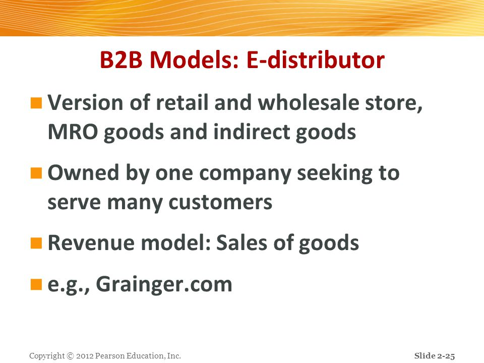 B2B Models: E-distributor