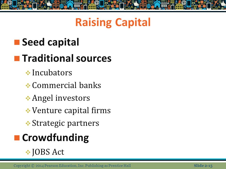 Raising Capital Seed capital Traditional sources Crowdfunding