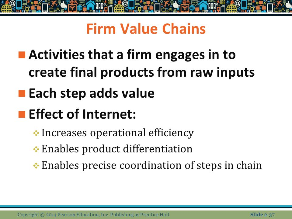 Firm Value Chains Activities that a firm engages in to create final products from raw inputs. Each step adds value.