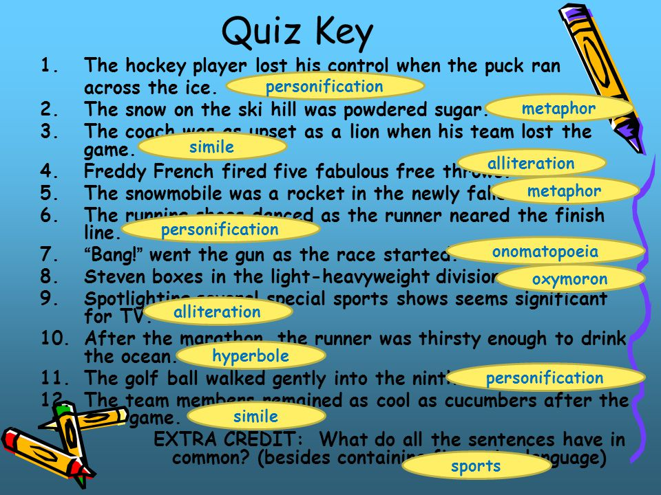 Quiz Key The hockey player lost his control when the puck ran