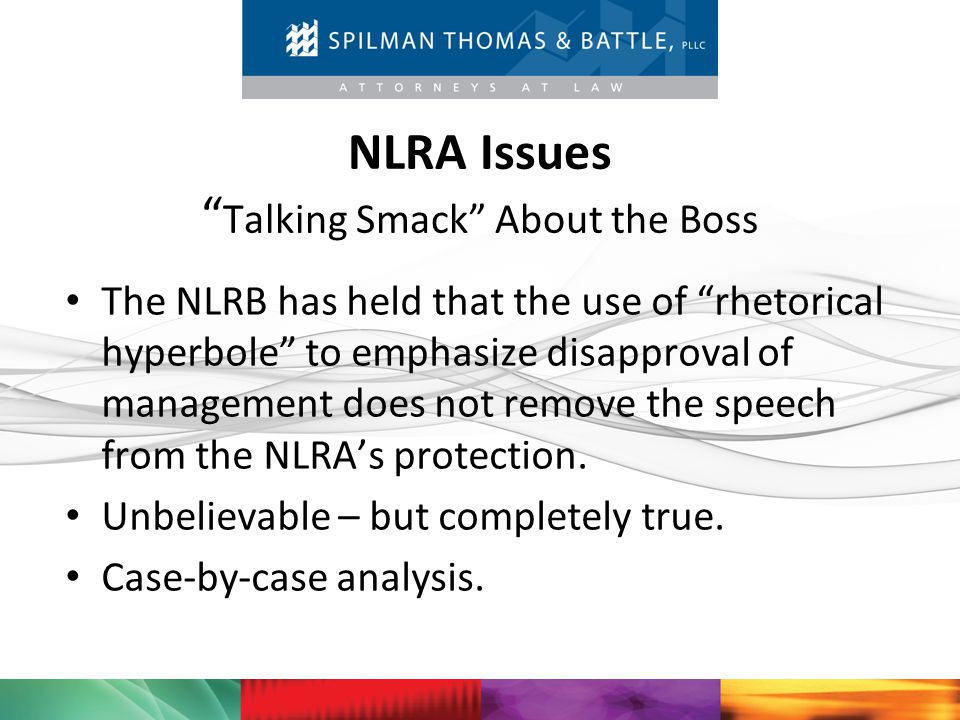NLRA Issues Talking Smack About the Boss