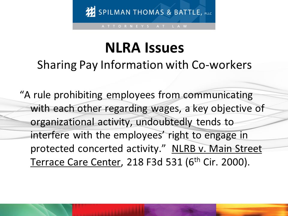 NLRA Issues Sharing Pay Information with Co-workers