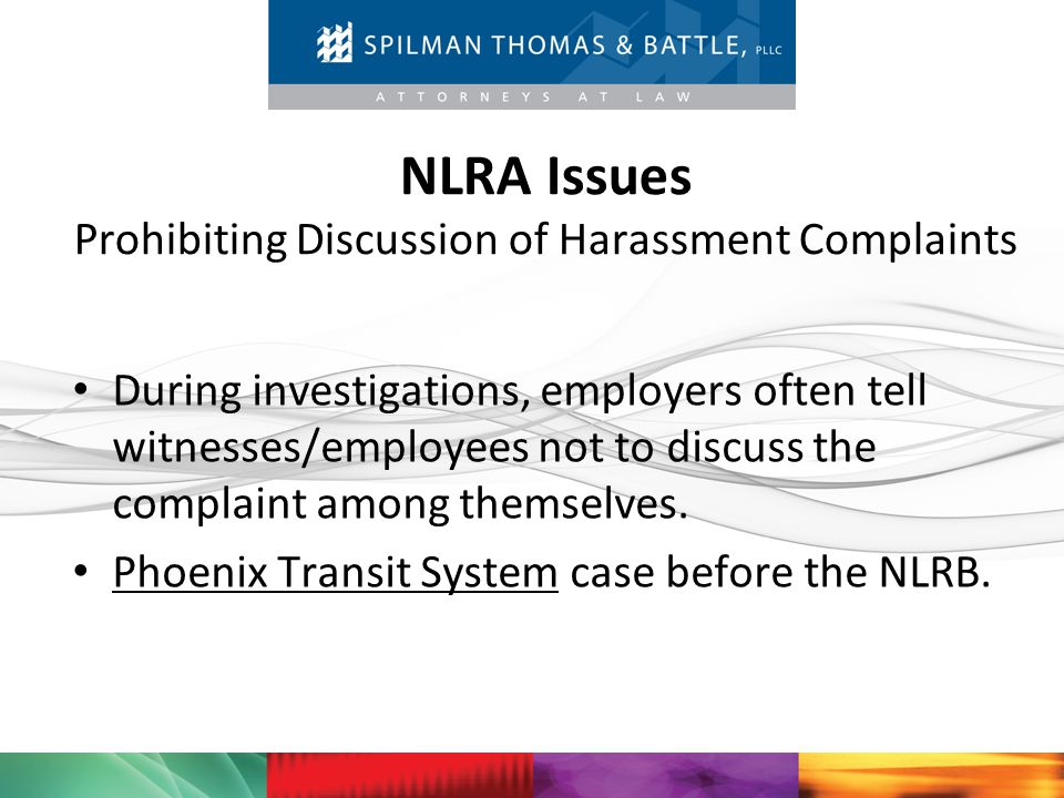 NLRA Issues Prohibiting Discussion of Harassment Complaints
