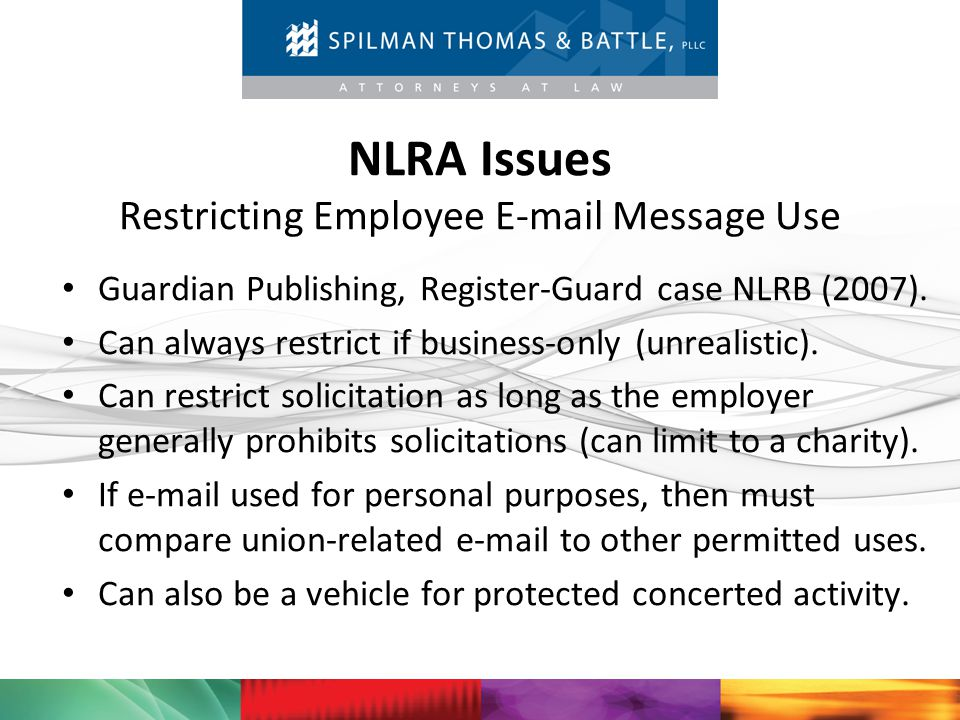 NLRA Issues Restricting Employee E-mail Message Use
