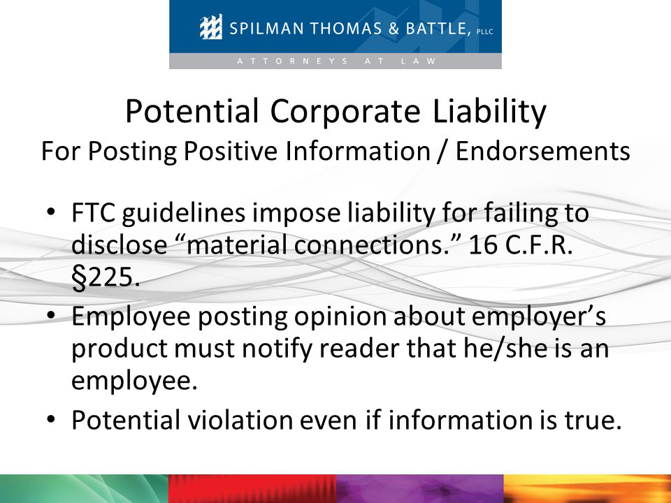 Potential Corporate Liability For Posting Positive Information / Endorsements