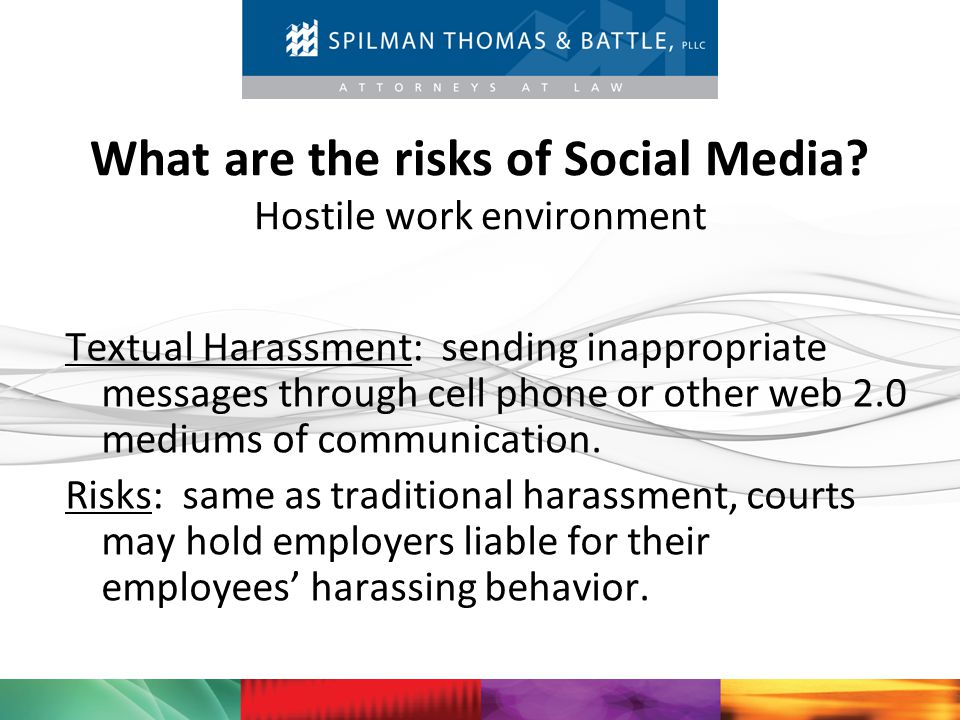 What are the risks of Social Media Hostile work environment