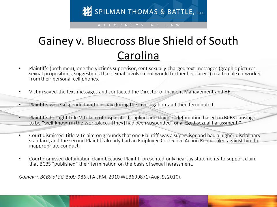 Gainey v. Bluecross Blue Shield of South Carolina