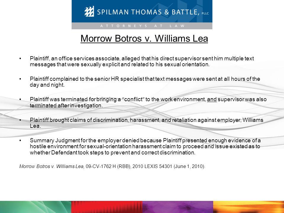 Morrow Botros v. Williams Lea