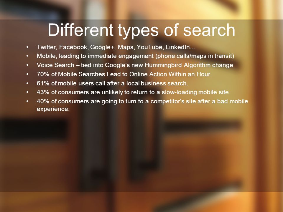 Different types of search