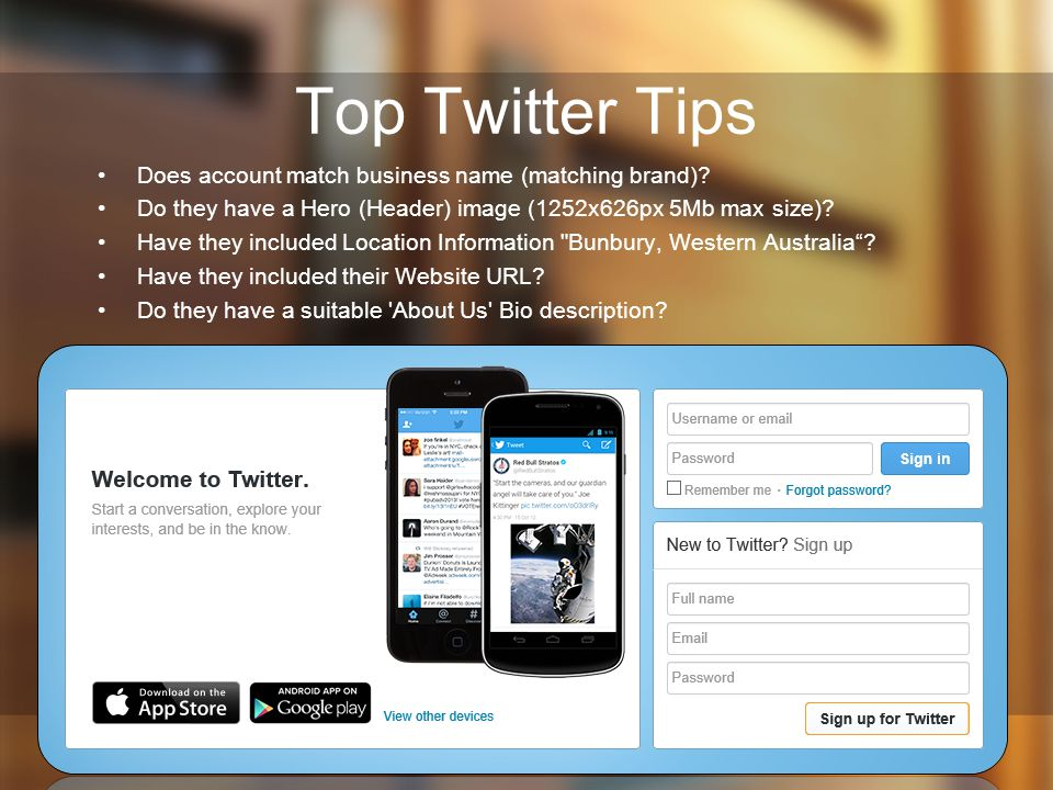 Top Twitter Tips Does account match business name (matching brand)
