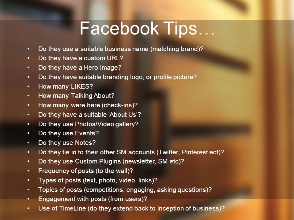 Facebook Tips… Do they use a suitable business name (matching brand)