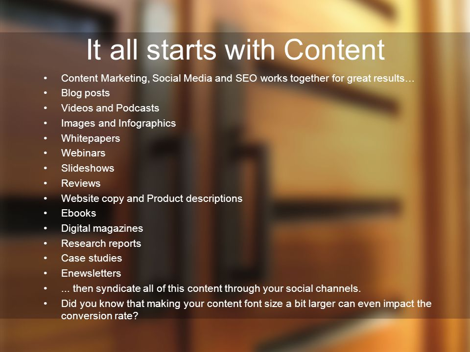 It all starts with Content