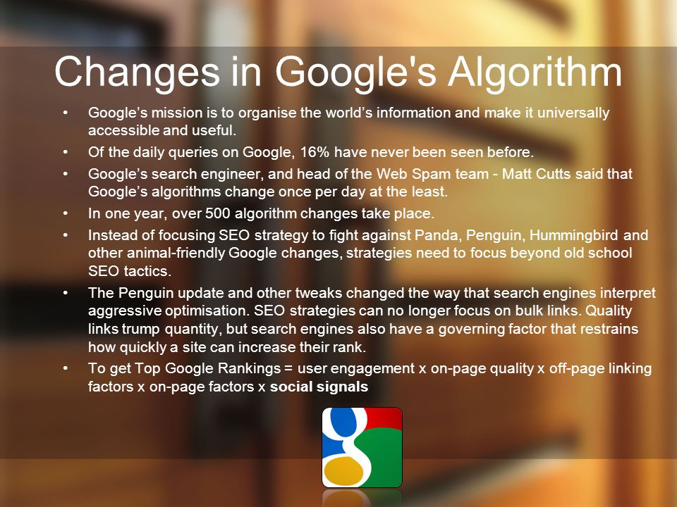 Changes in Google s Algorithm