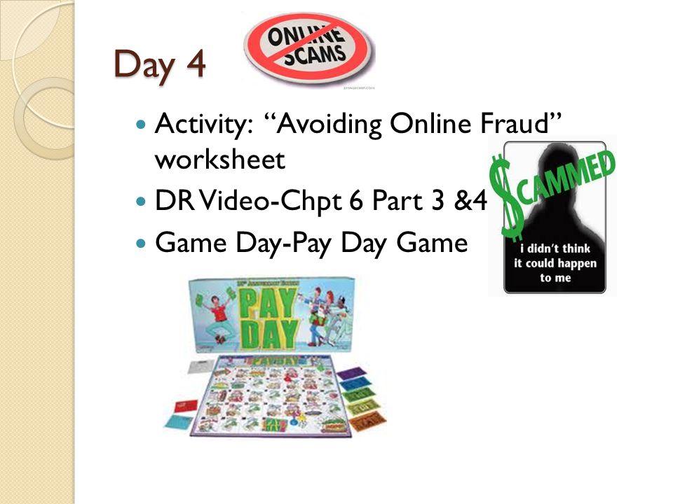Day 4 Activity: Avoiding Online Fraud worksheet