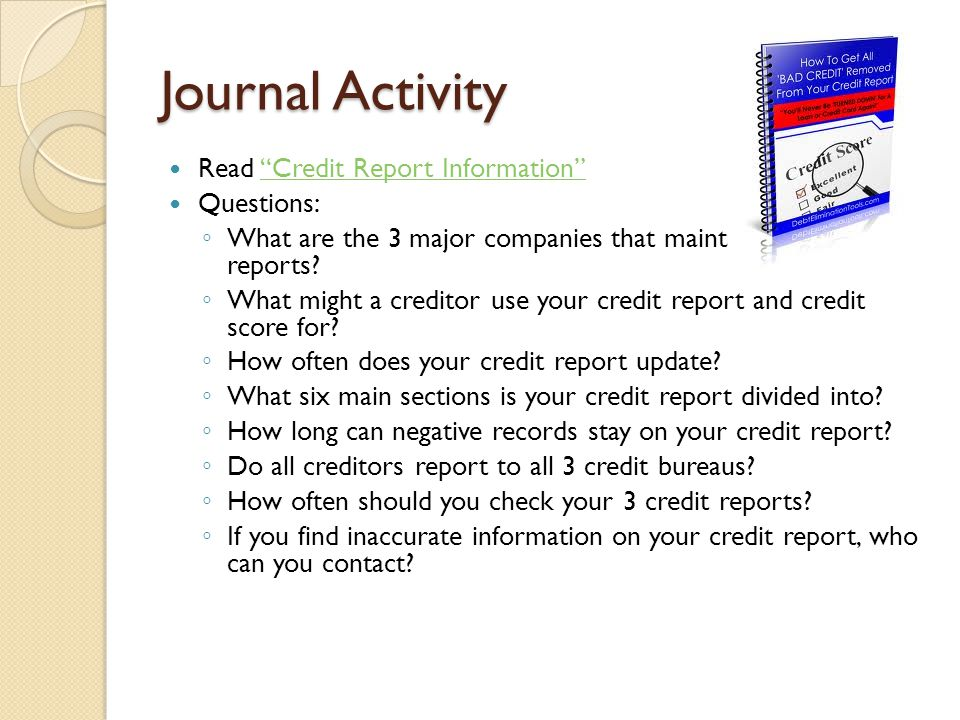 Journal Activity Read Credit Report Information Questions:
