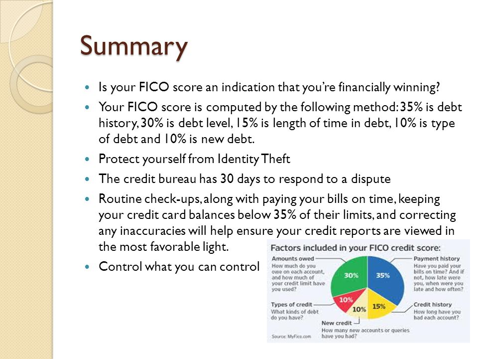 Summary Is your FICO score an indication that you're financially winning