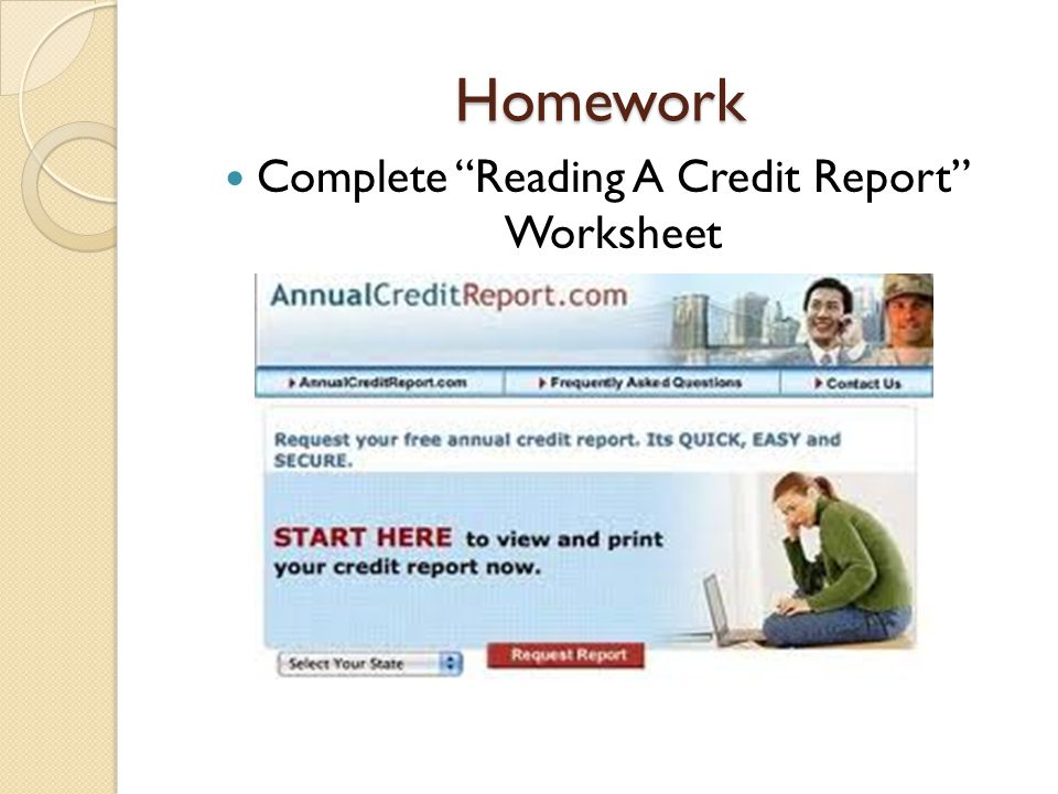 Complete Reading A Credit Report Worksheet