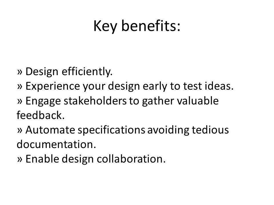 Key benefits: