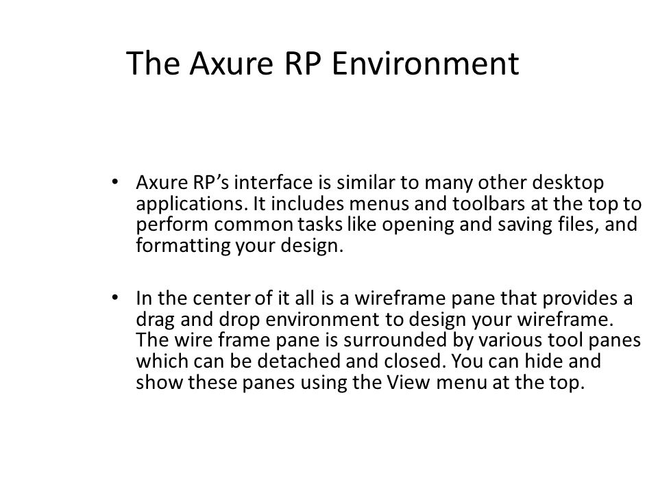 The Axure RP Environment