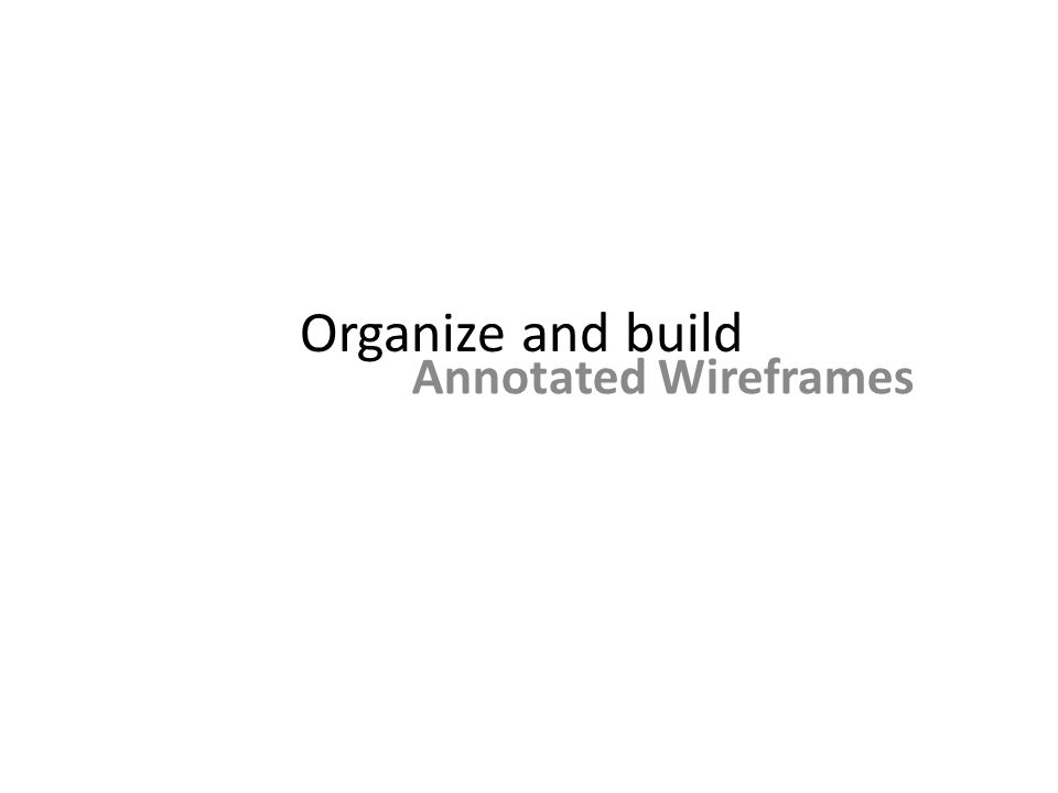 Organize and build Annotated Wireframes