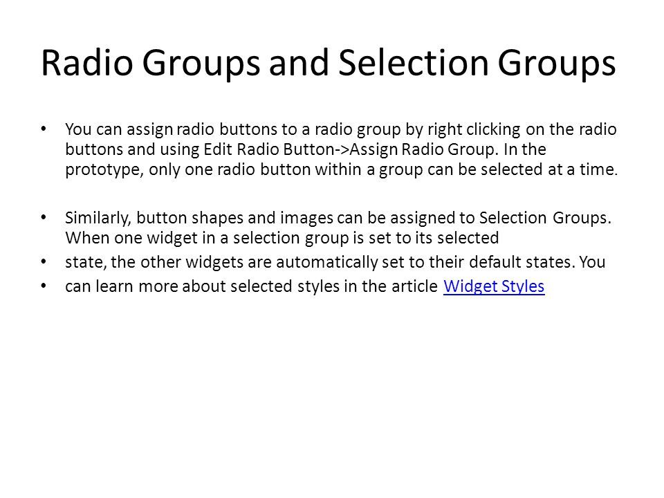Radio Groups and Selection Groups