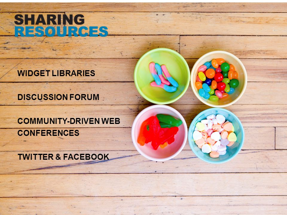 WIDGET LIBRARIES DISCUSSION FORUM COMMUNITY-DRIVEN WEB CONFERENCES TWITTER & FACEBOOK