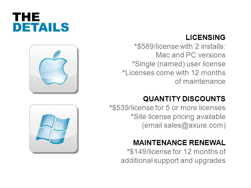 LICENSING *$589/license with 2 installs: Mac and PC versions. *Single (named) user license. *Licenses come with 12 months.
