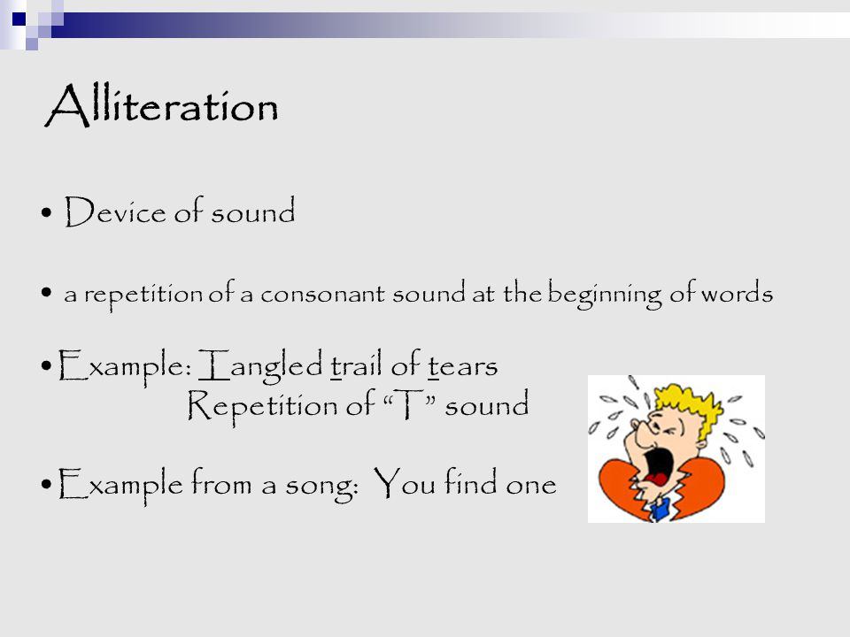 Alliteration Device of sound