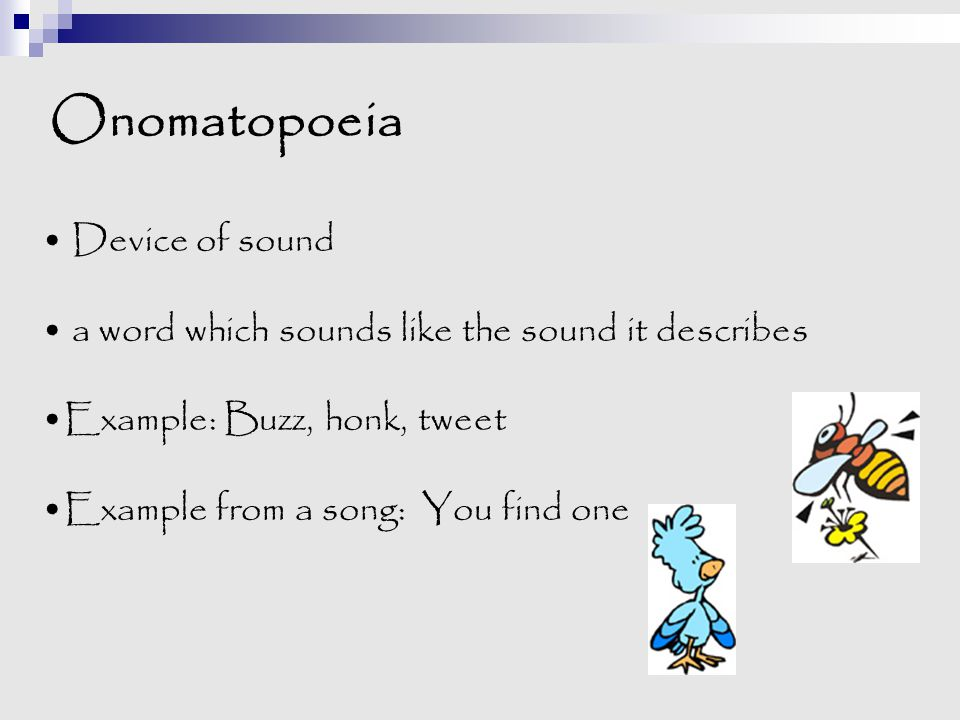 Onomatopoeia Device of sound
