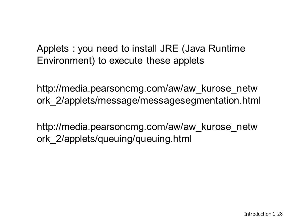 Applets : you need to install JRE (Java Runtime Environment) to execute these applets