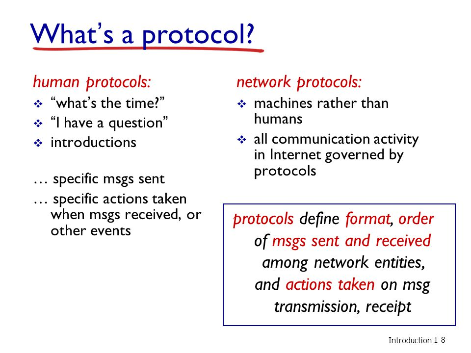 What's a protocol human protocols: network protocols: