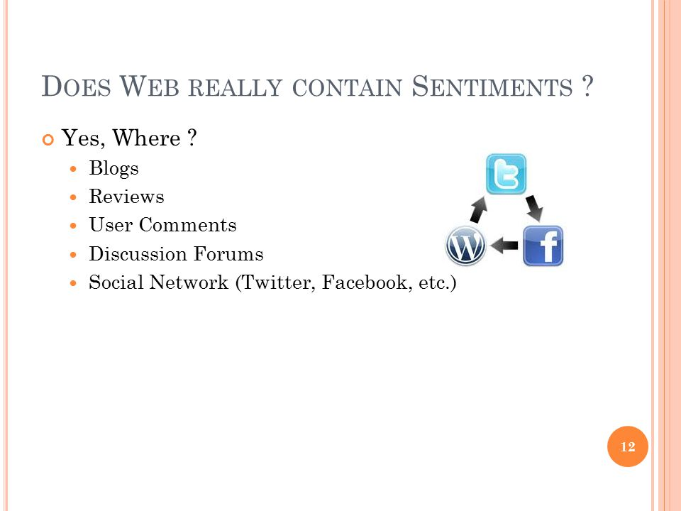 Does Web really contain Sentiments