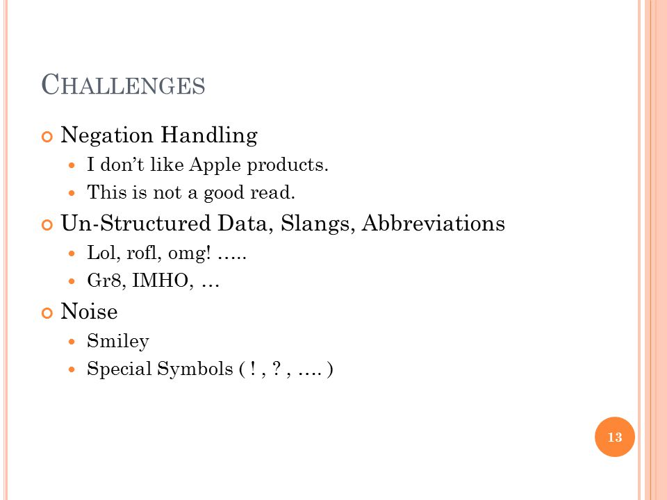 Challenges Negation Handling Un-Structured Data, Slangs, Abbreviations