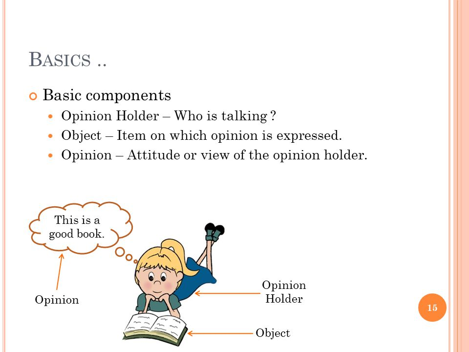 Basics .. Basic components Opinion Holder – Who is talking