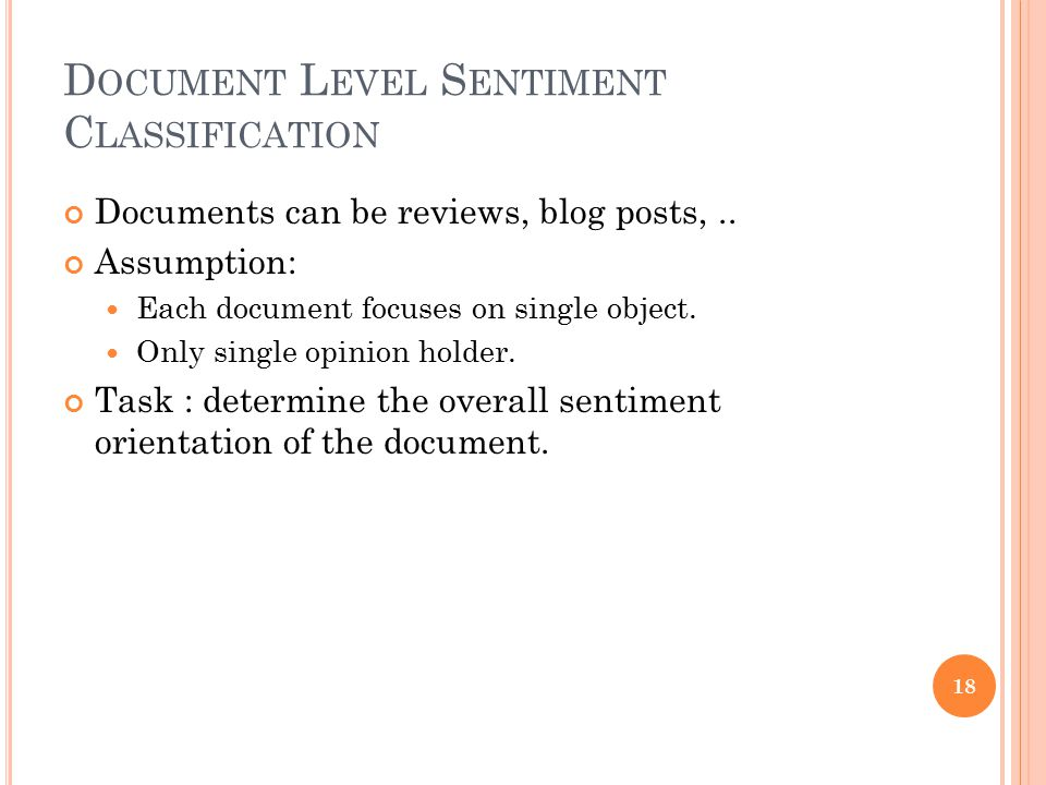Document Level Sentiment Classification