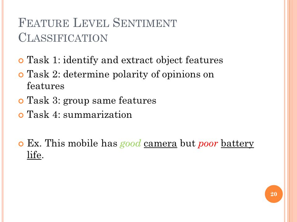 Feature Level Sentiment Classification