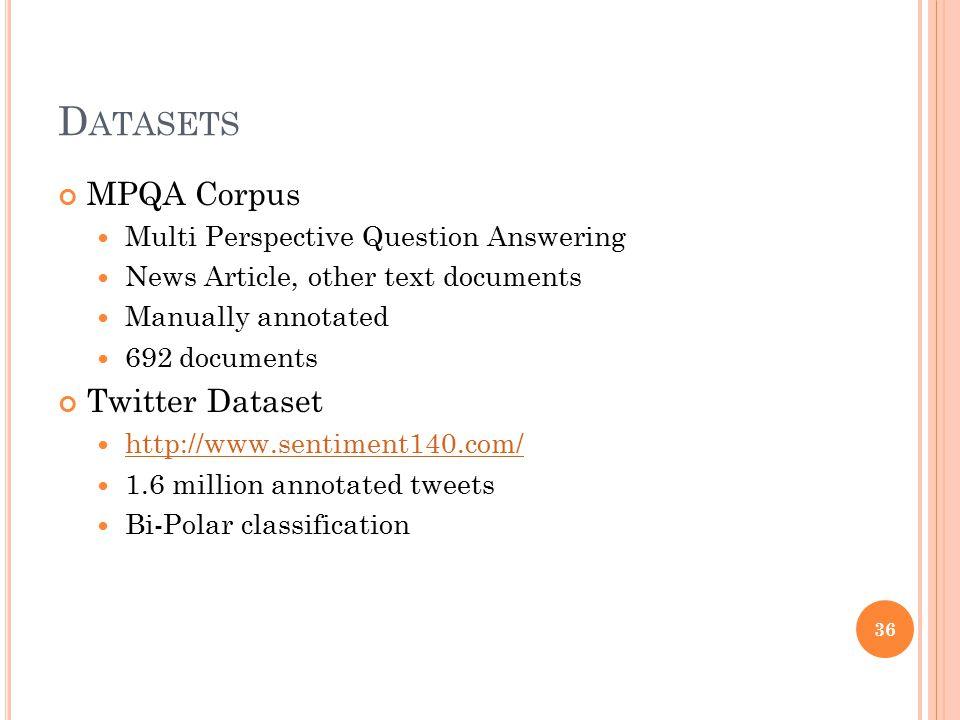 Datasets MPQA Corpus Twitter Dataset